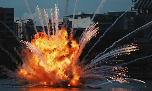 Explosion over water